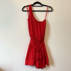 Red one shoulder dress w/pockets by BR